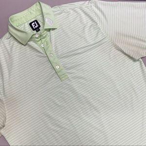 FootJoy Polo Shirt Men Reg Fit Green White Stripe